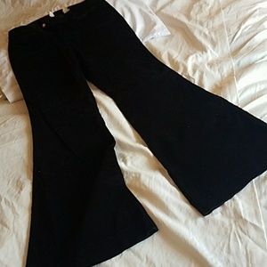 London Jean black soft finish flare pants 10 Long